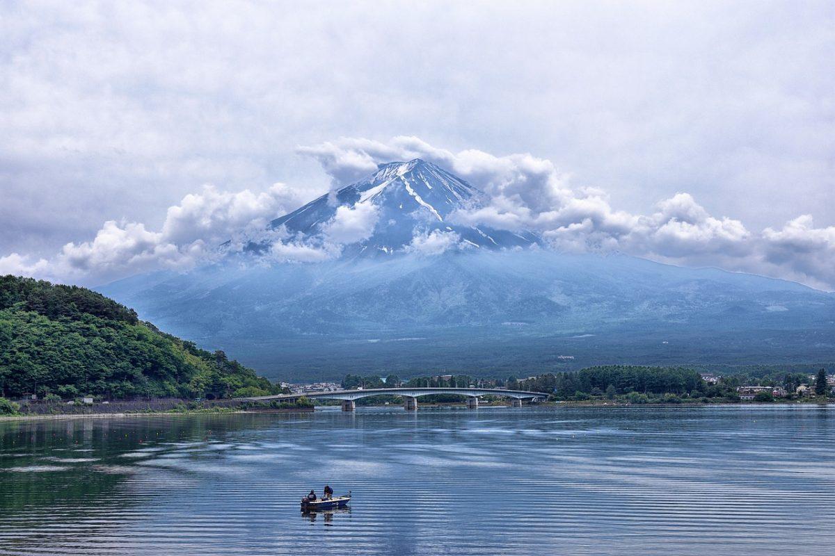 A scenic view of Mt. Fuji overlooking Lake Ashi