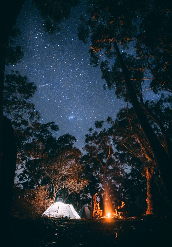 Camping, stars, night sky