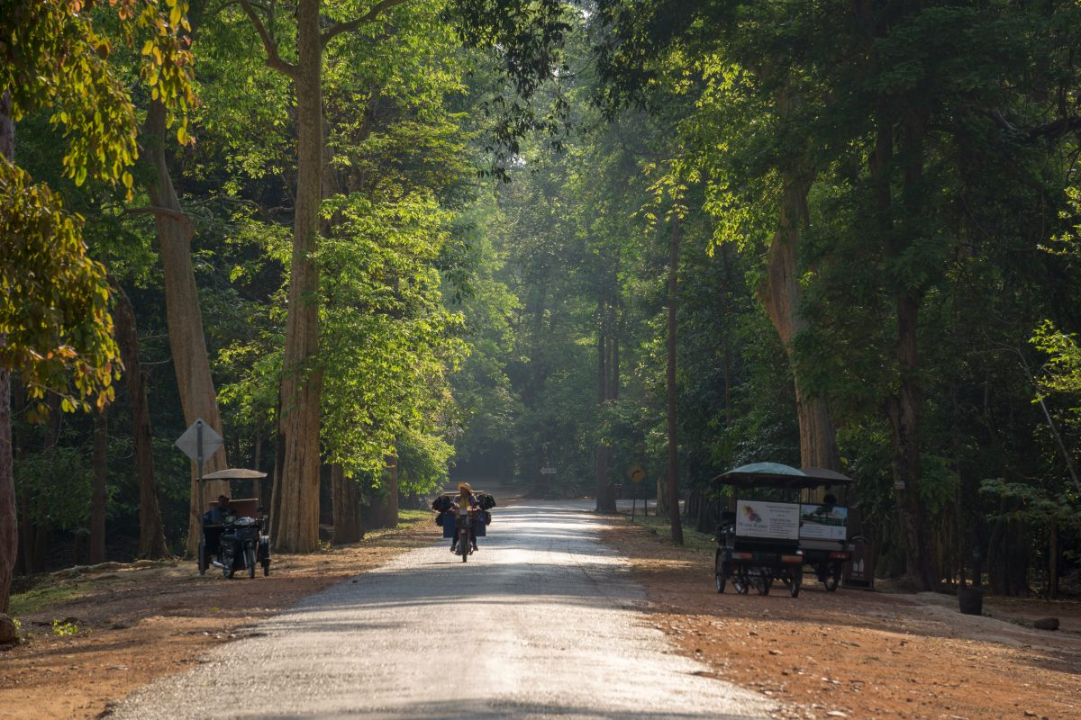 on the way to Angkor Wat with Tuk Tuk in Siem Reap