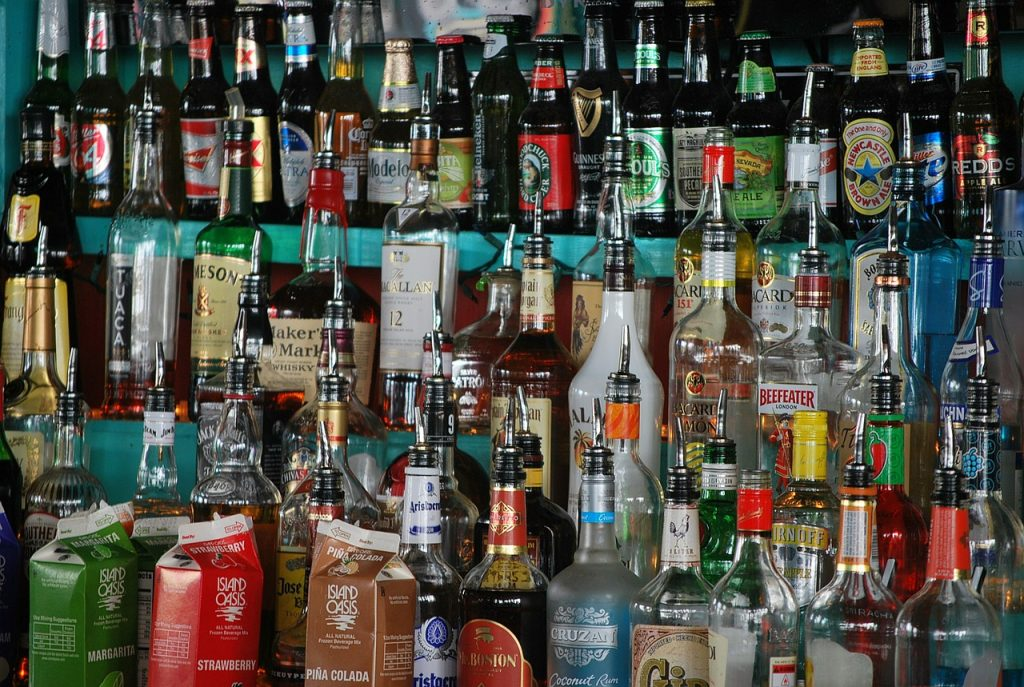 bottles, rum