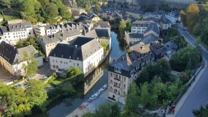 An aerial view of Luxembourg City