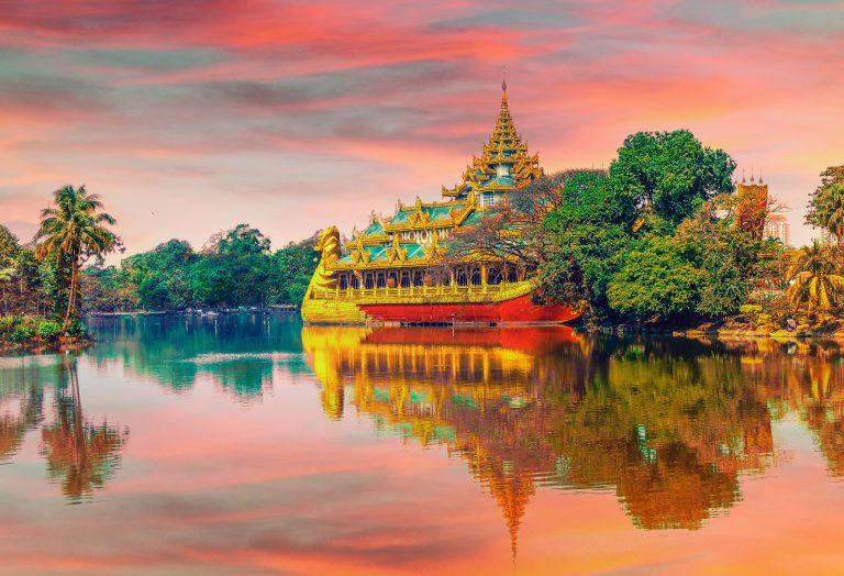 Yangon's temple over the river in Burma