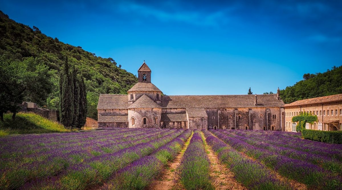 Monastery with Lavender fields in Aix en Provence in France