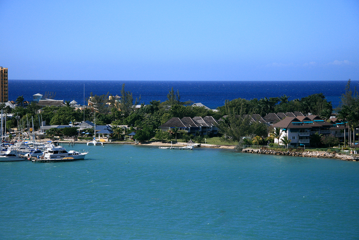 wide-angle shot of montego bay and surrounding resorts
