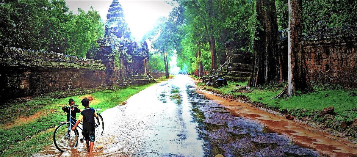 Mild flooding after the rain in Angkor Thom, Siem Reap, Cambodia