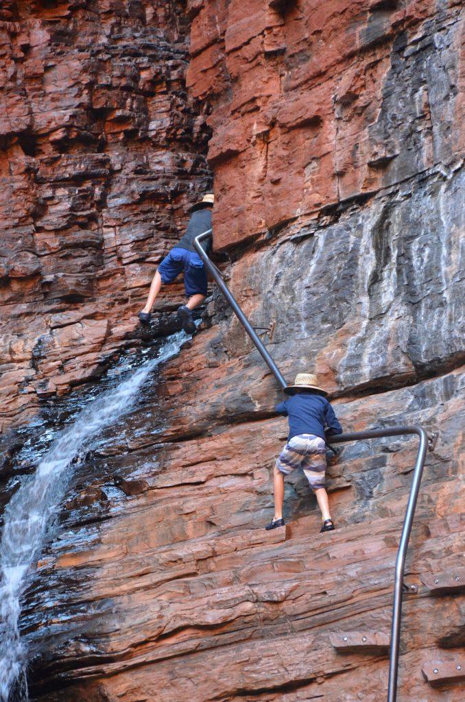 Rock climbing, handrail pool