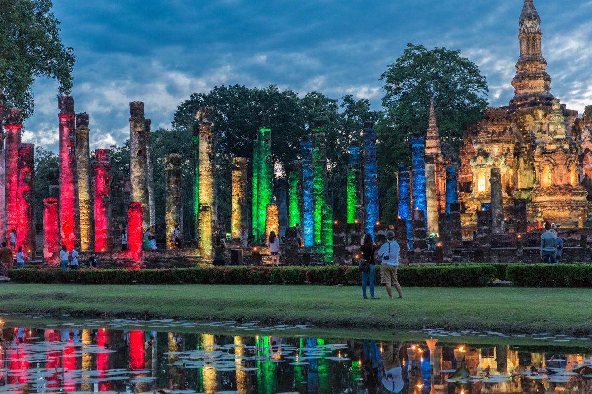 Light show in Sukhothai Historical Park, Sukhothai, Thailand