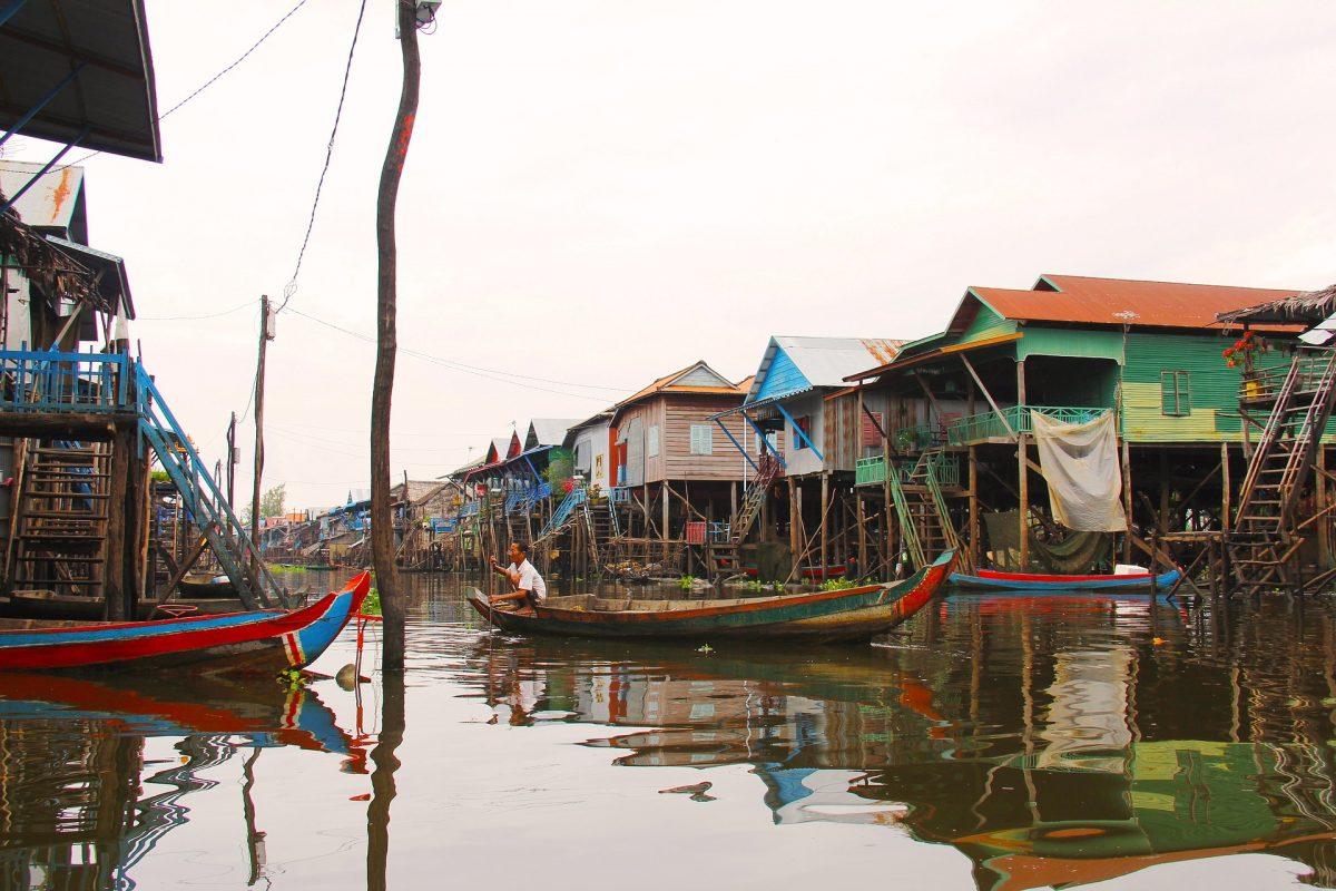 Houses on stilts in Tonle Sap Lake, Siem Reap, Cambodia