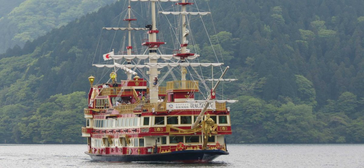 A pirate boat sailing Lake Ashi