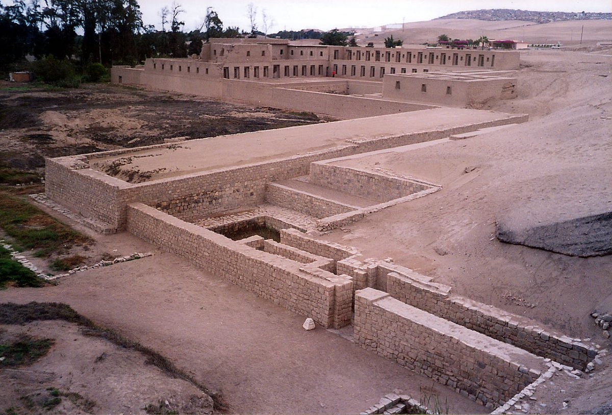 The archaeological site of Pachacamac sits approximately 40 km southeast of Lima, in the Lurín River Valley.
