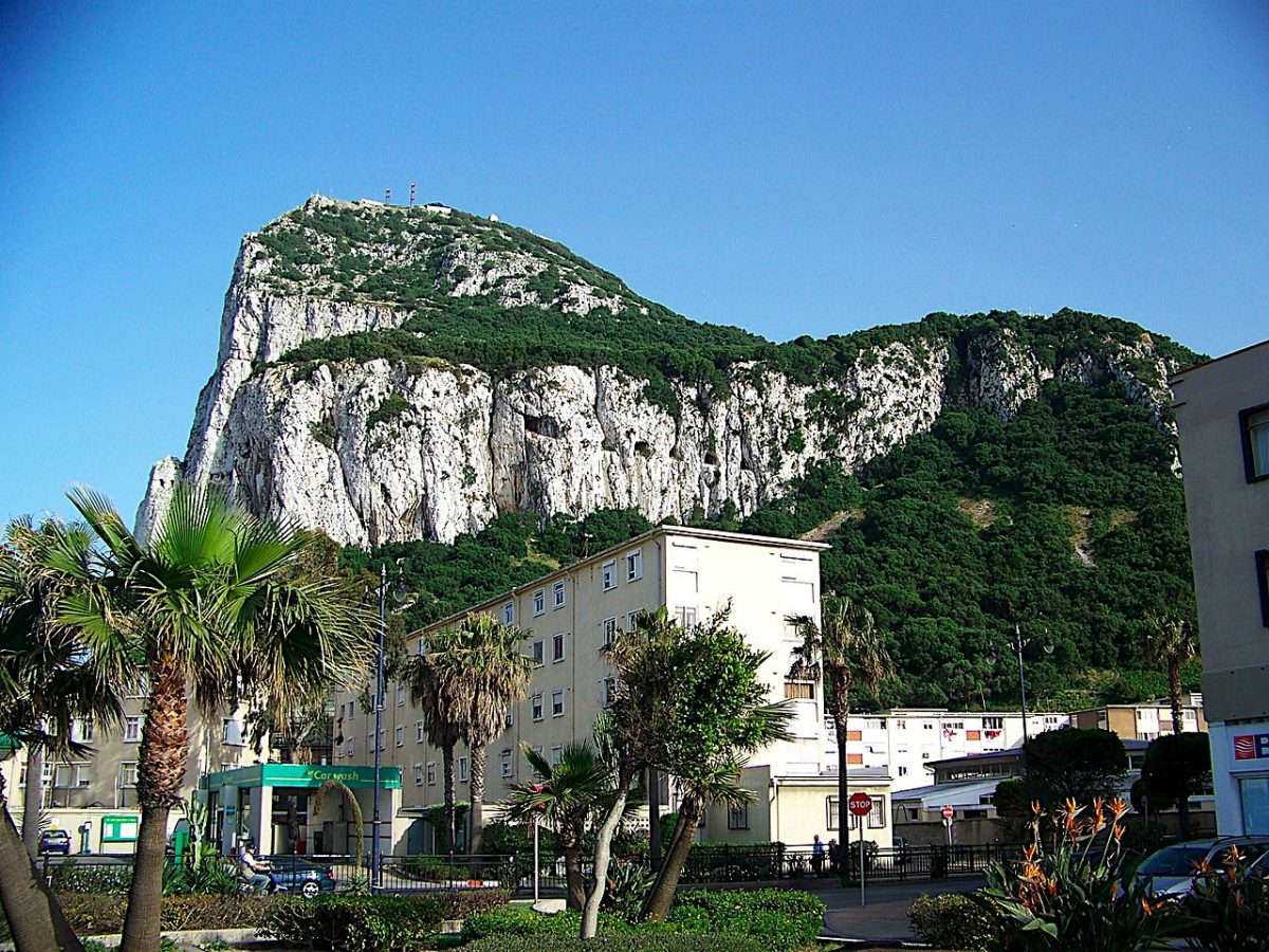 Gibraltar's most prominent landmark, the Rock of Gibraltar, raises 426 meters (1,400 ft) above sea level.