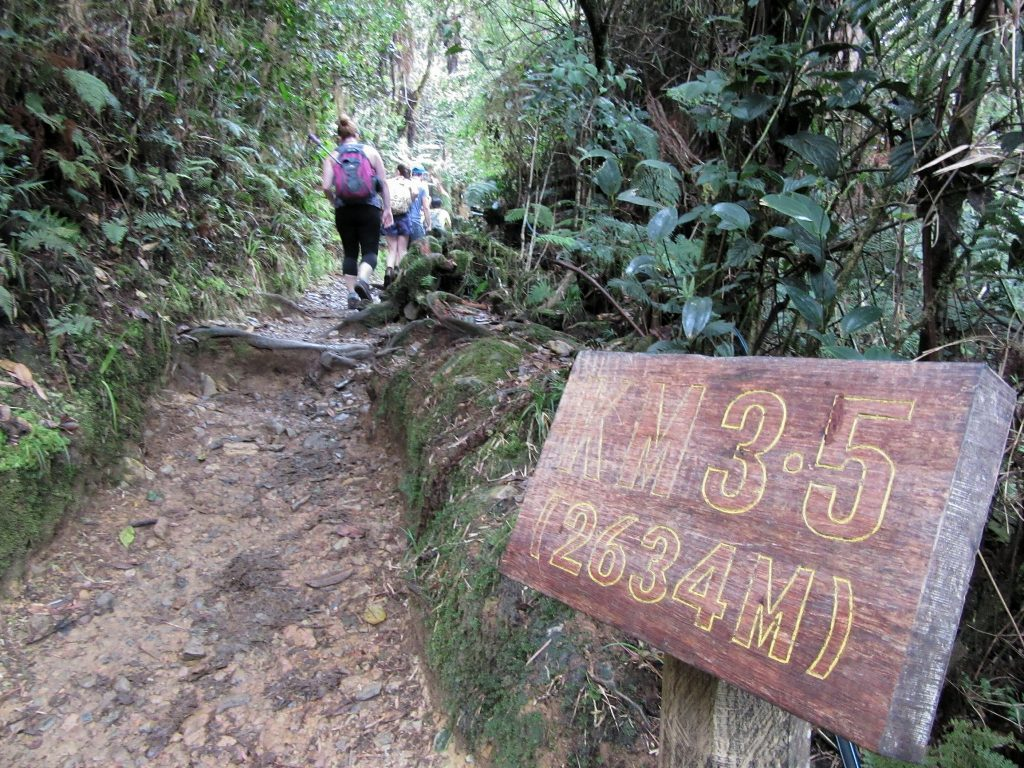 Hikers traversing the trail to the Mount Kinabalu, Mount Kinabalu Distance Post