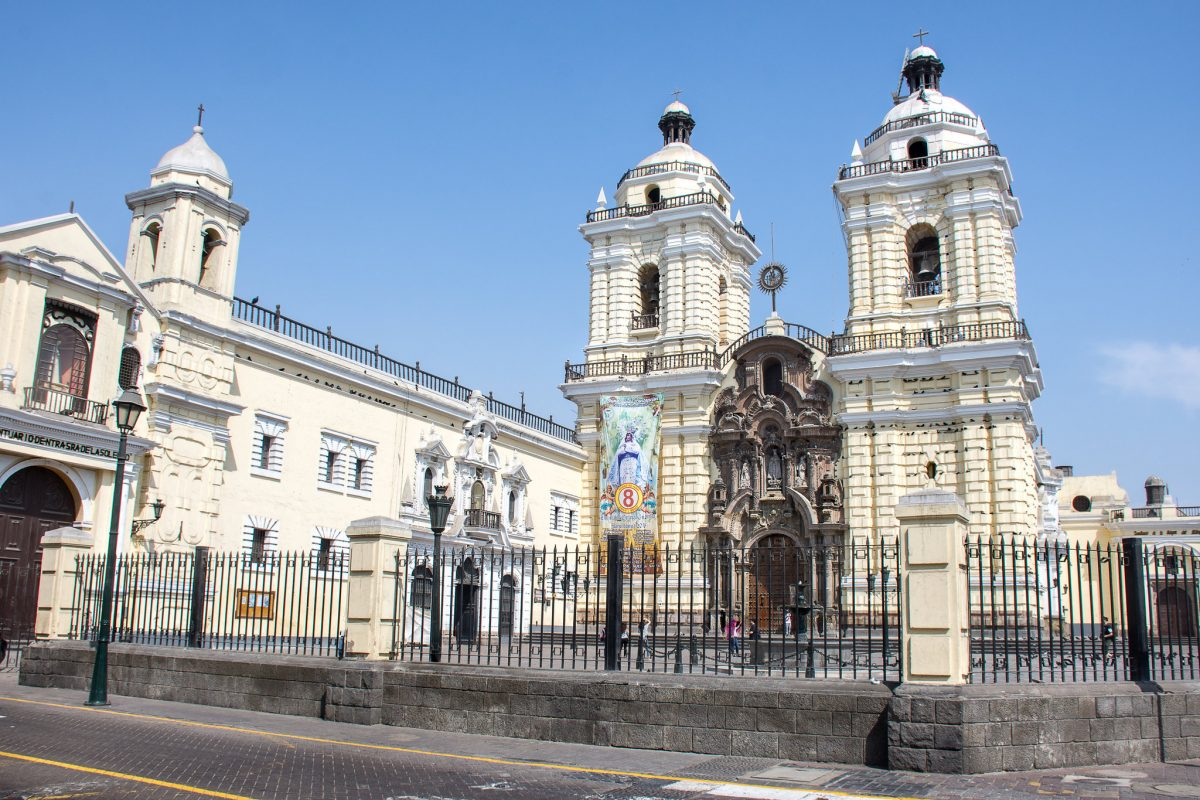 North of Lima's Plaza Mayor, the church and monastery was completed in 1674 and is a prime example of Spanish Baroque architecture.
