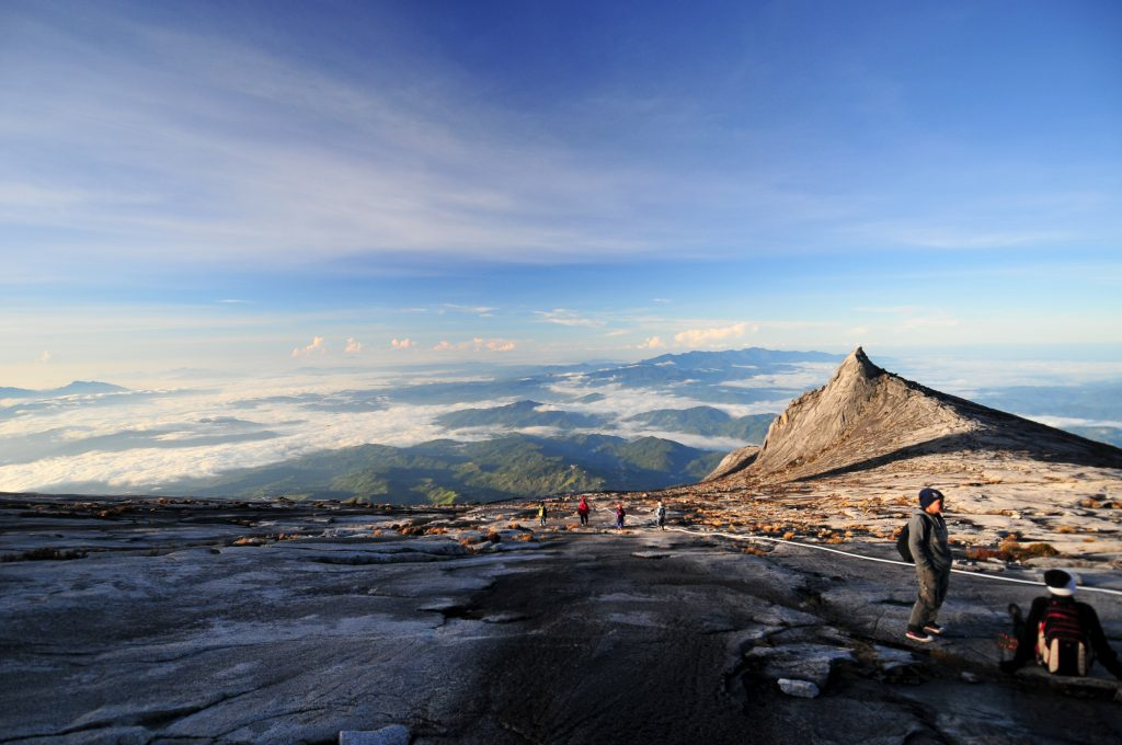 Panoramic view of the Mount Kinabalu Summit on a clear blue sky