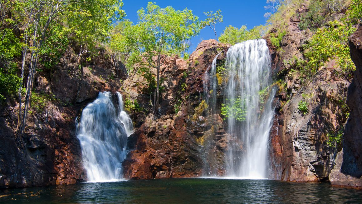 The beautiful Florence Falls in Litchfield National Park, with cool swimming hole at base. Northern Territory, Australia