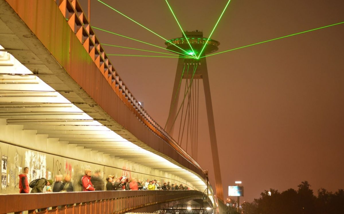 Bratislava laser light show during the night