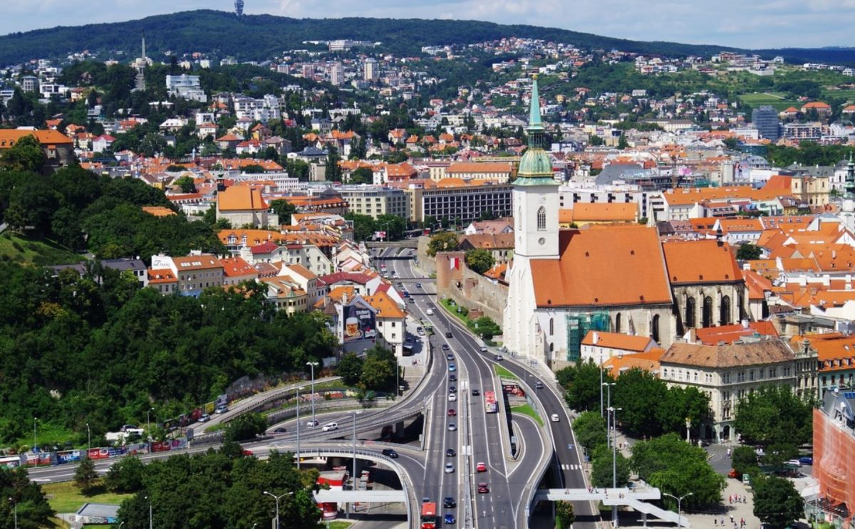 Brastislava highway next to the St.Martin Cathedral