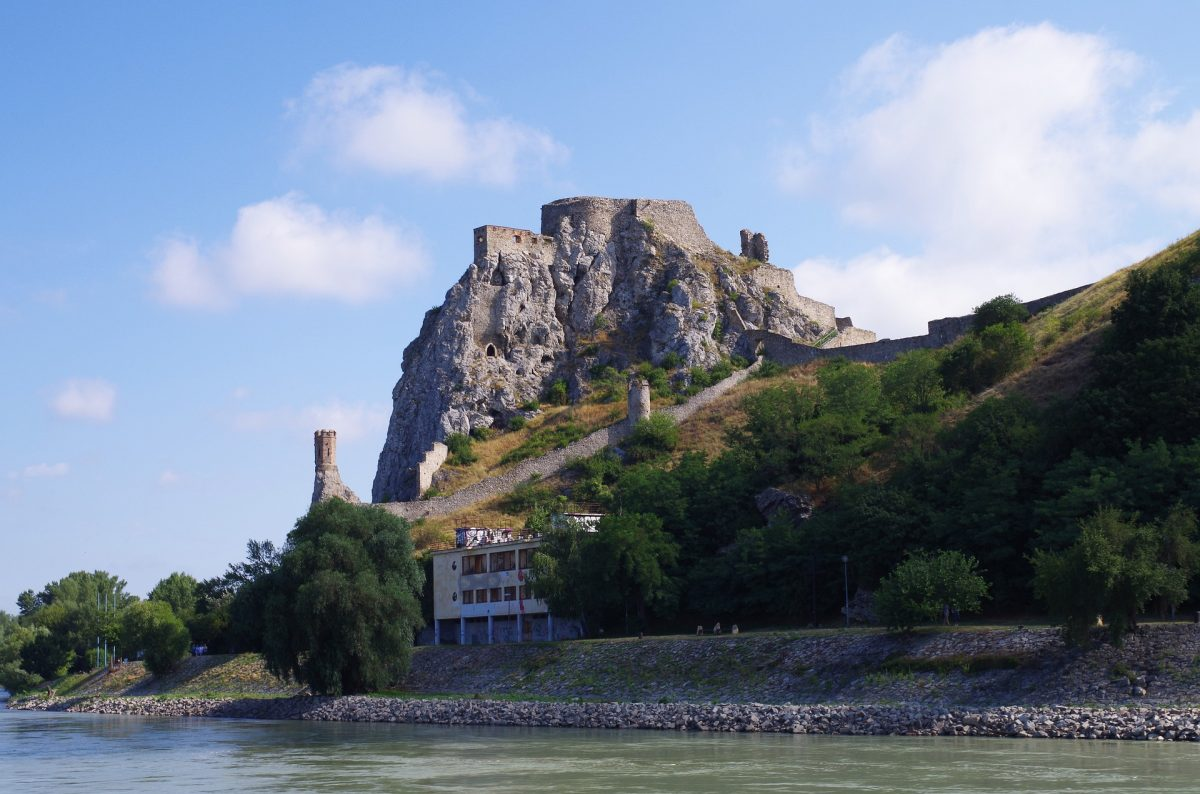 Devin Castle on a mountain beside the Slovakia's sea