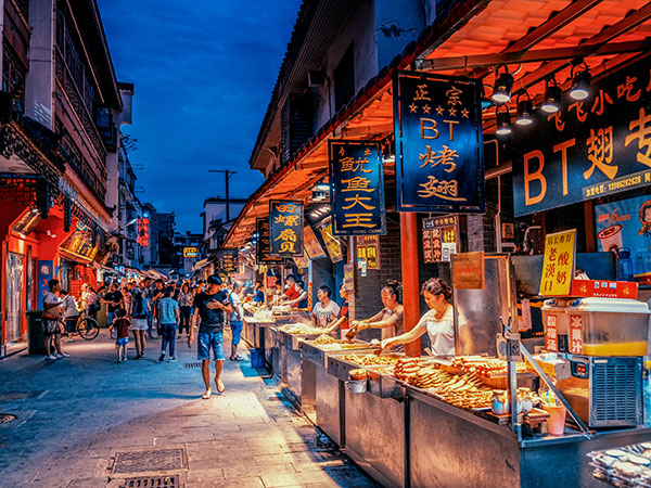 hubu lane, food stalls, wuhan