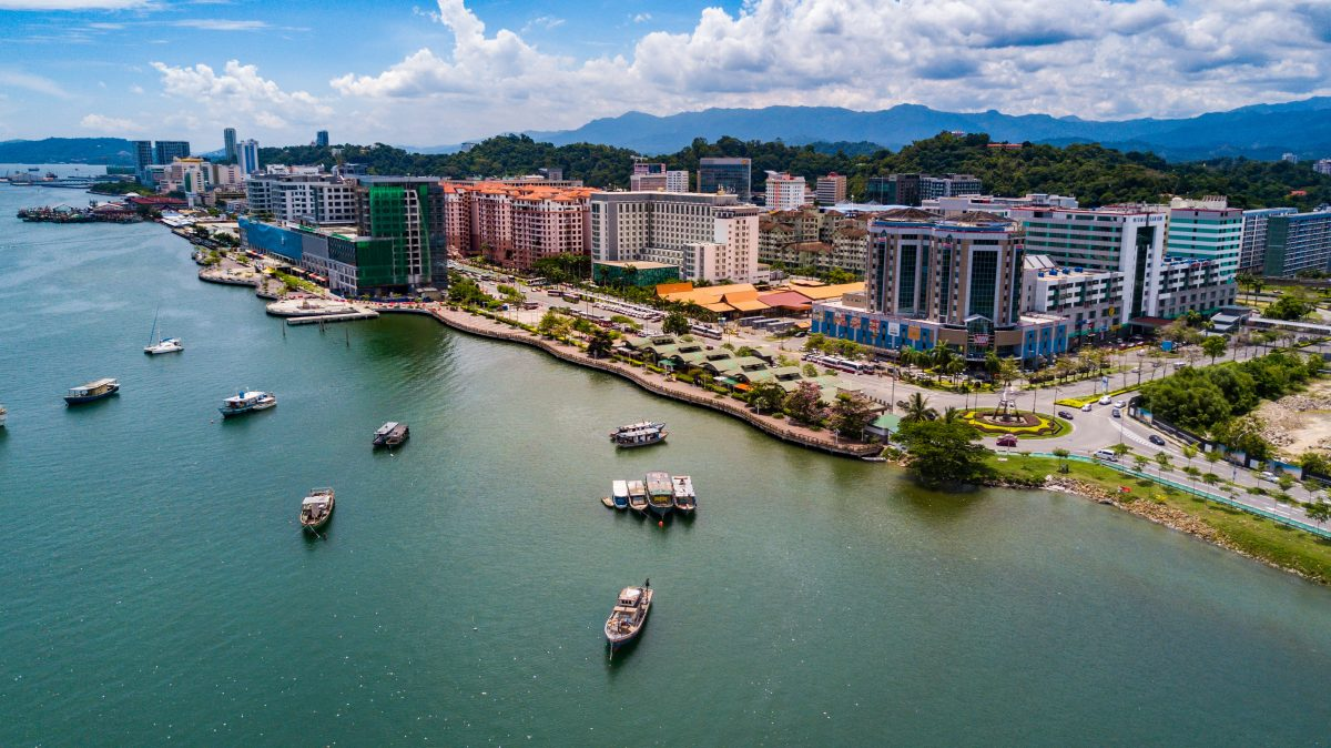 Aerial view of Kota Kinabalu city by the beach.