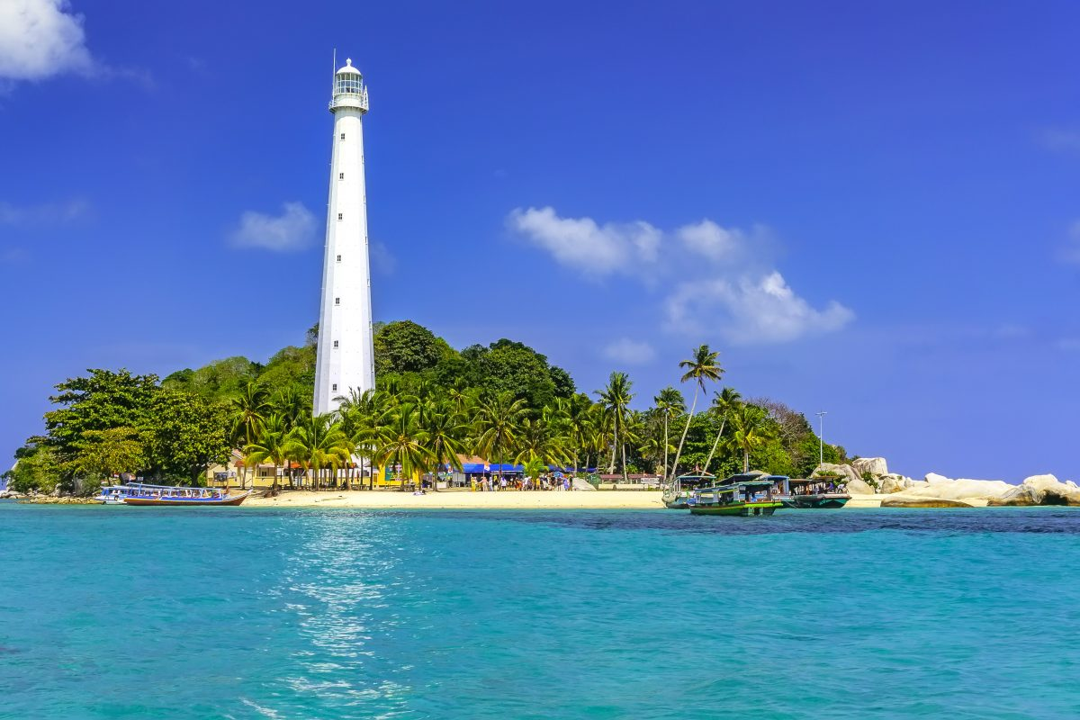 View of Lengkuas Island with white lighthouse in Belitung Indonesia