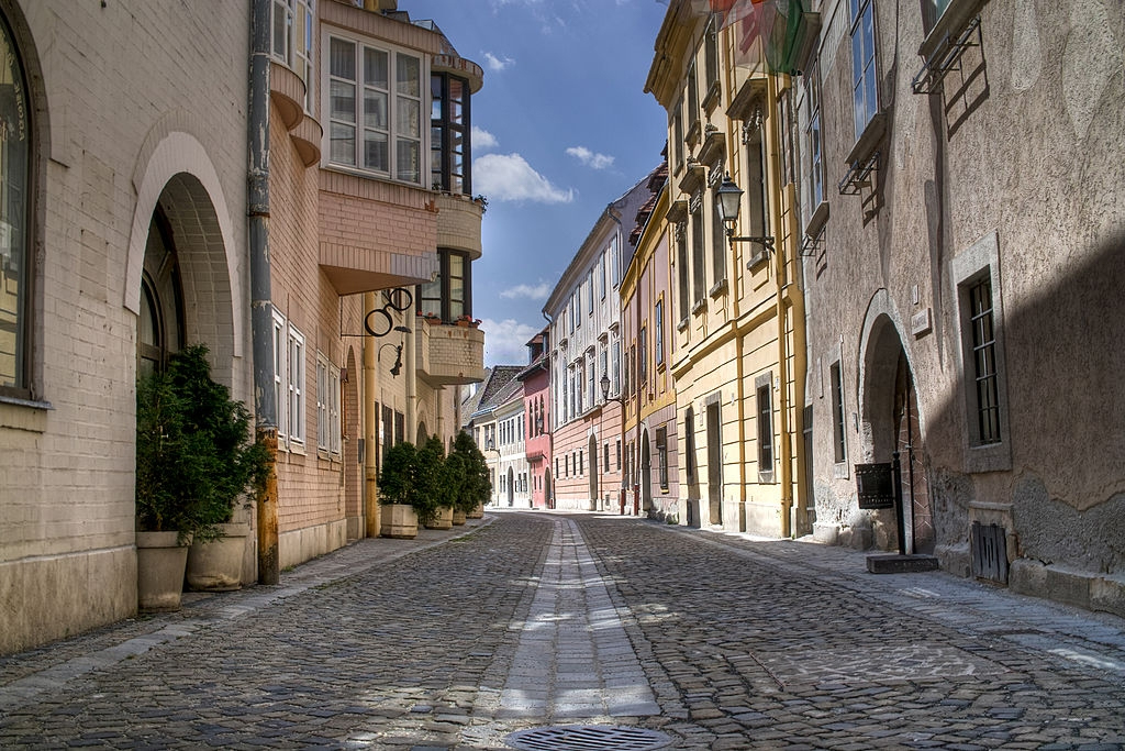 Sopron cobbled stones old town in Hungary