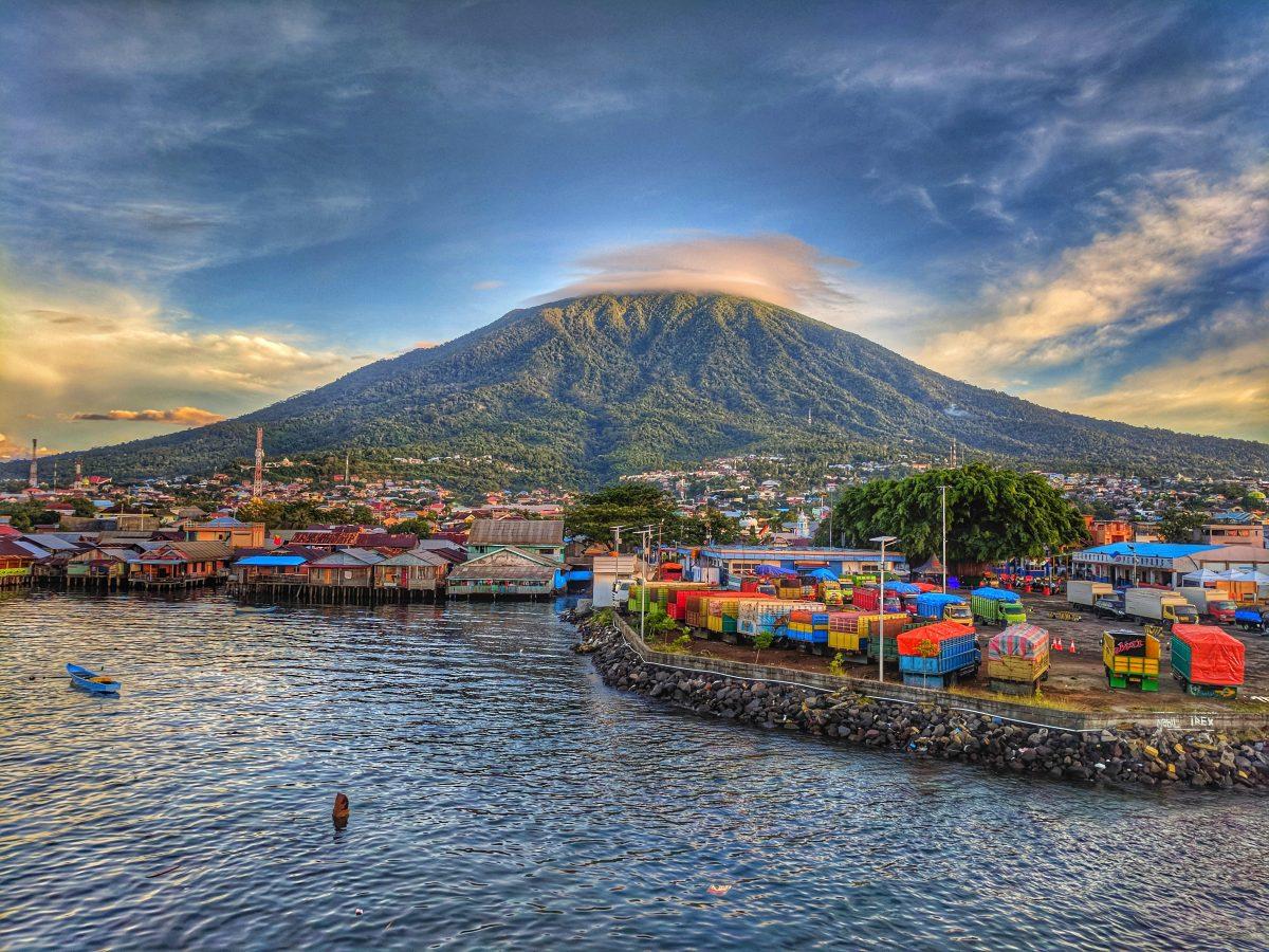 Gamalama mountain near Ternate city village