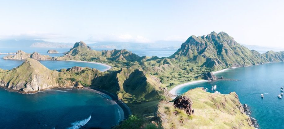 Aerial view of Flores island in the sunny morning