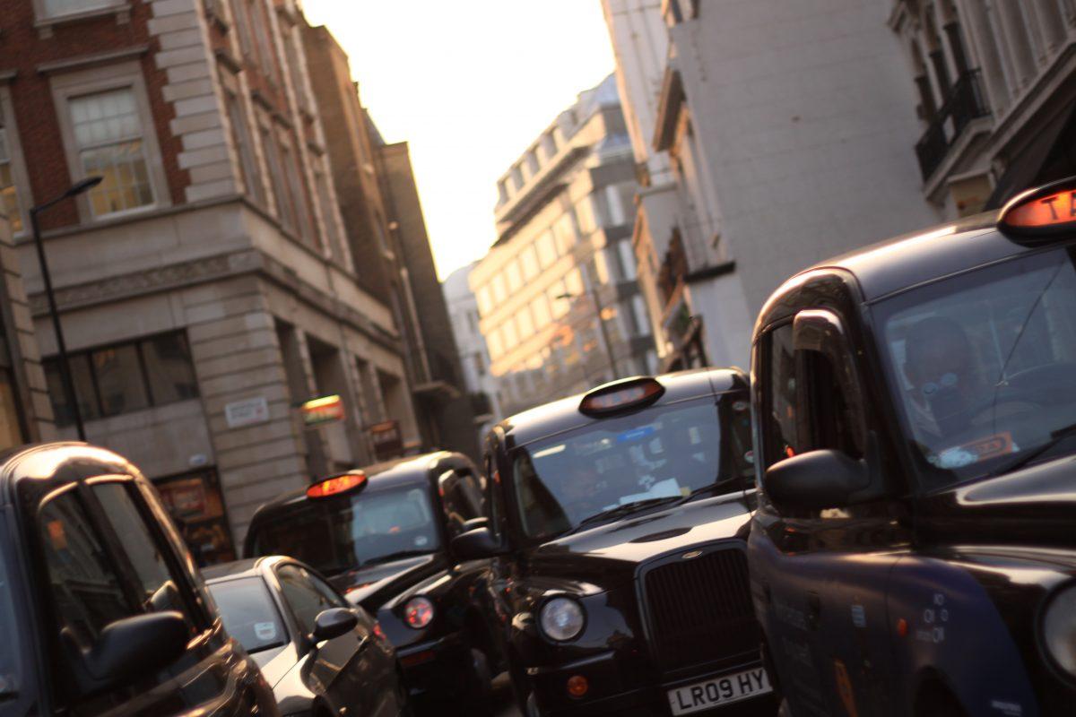 Black cabs in London, UK