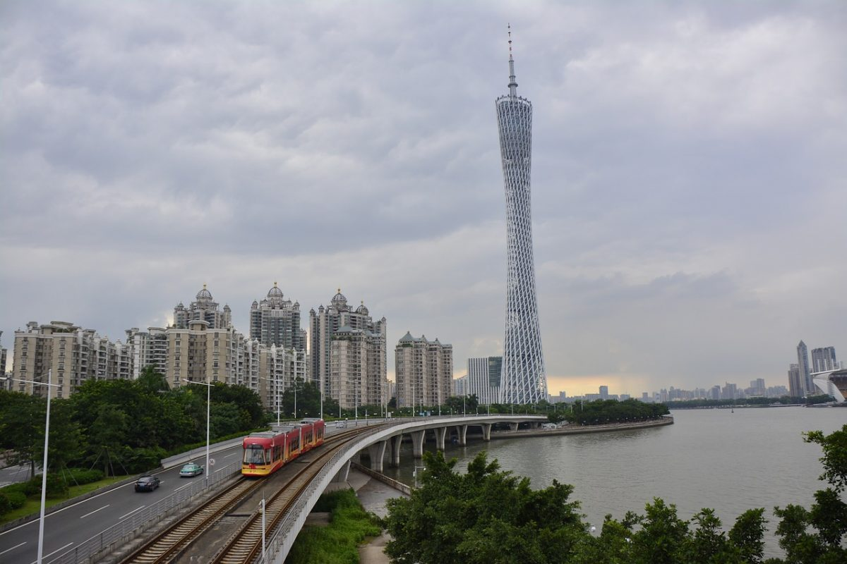 A landmark of the city, the Canton Tower is the highest structure of China, at a height of 600 meters (1,968 feet).