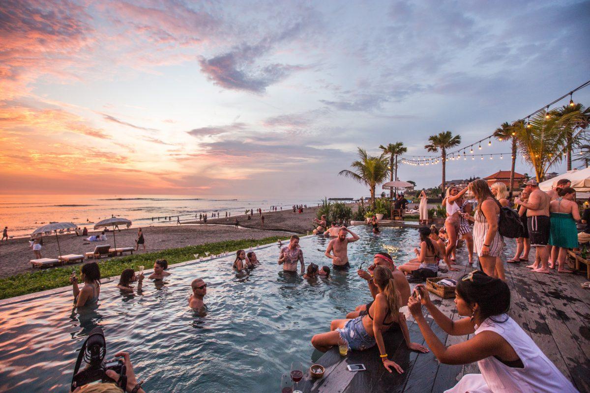 infinity pool facing canggu beach in Bali, Indonesia
