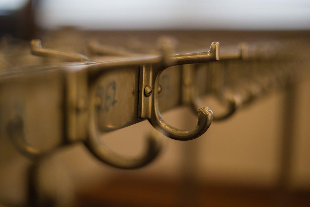 Hooks at a coat check room