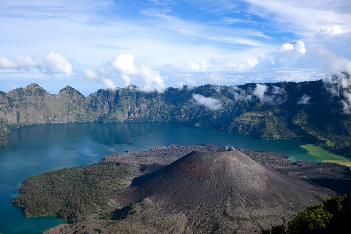 drone view of volcanic mountain in Lombok, Indonesia