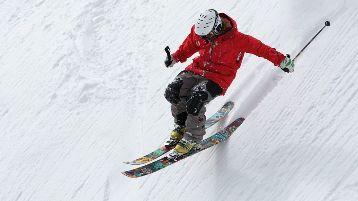 Skiing on the snowy mountain