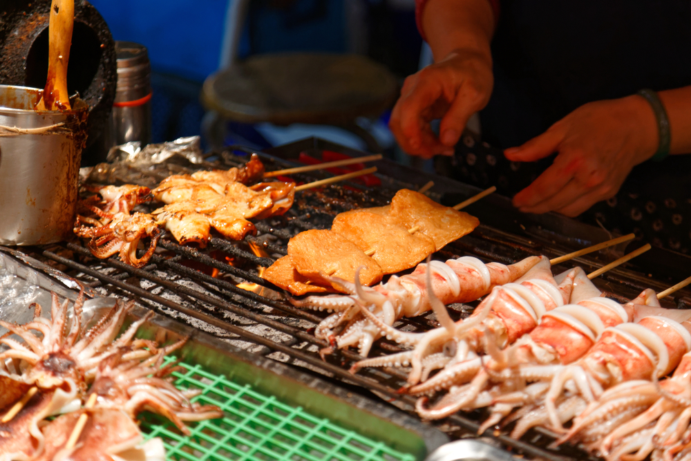 Grilled street food in Da Dong Night Market