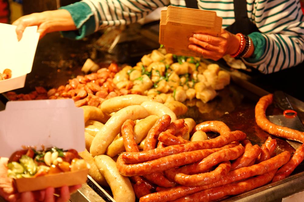 Taiwanese sausages at Tainan Flower Night Market