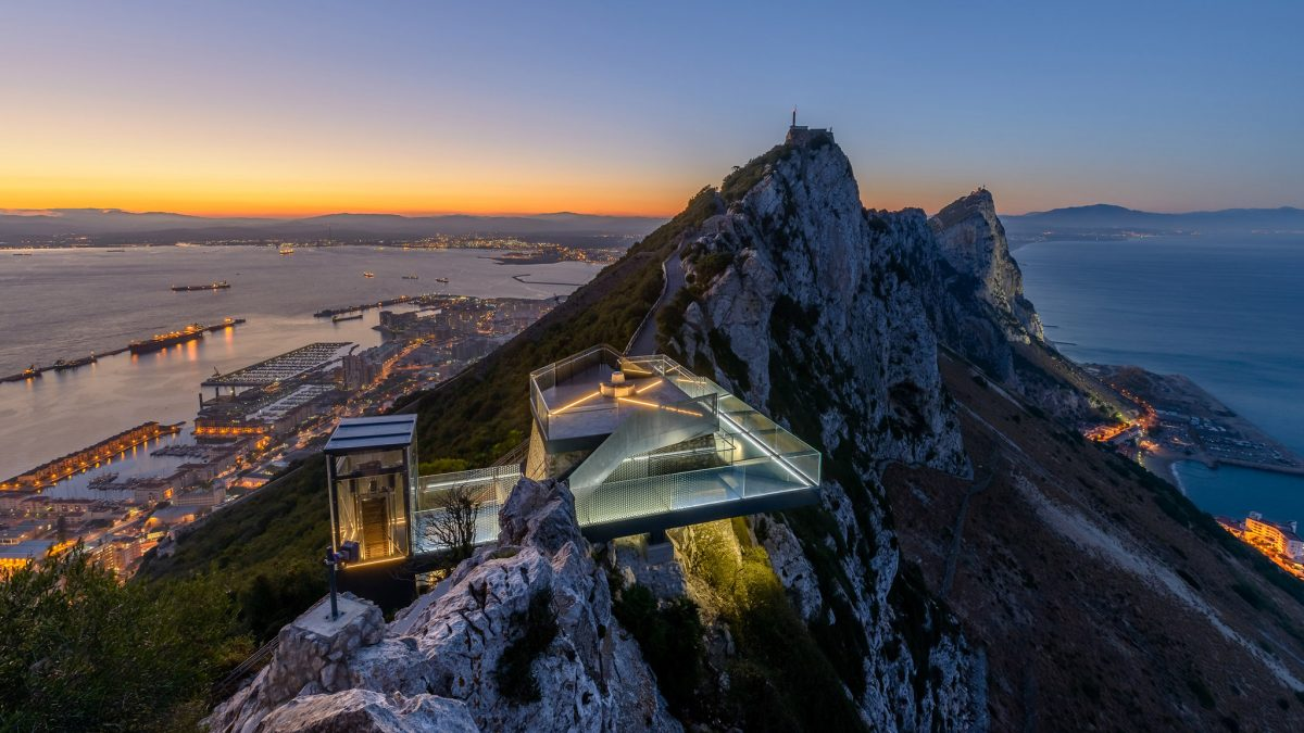 The latest attraction to open in Gibraltar, the Skywalk stands 340 meters above sea level and offers breathtaking 360º views of Gibraltar, Spain, and Africa.