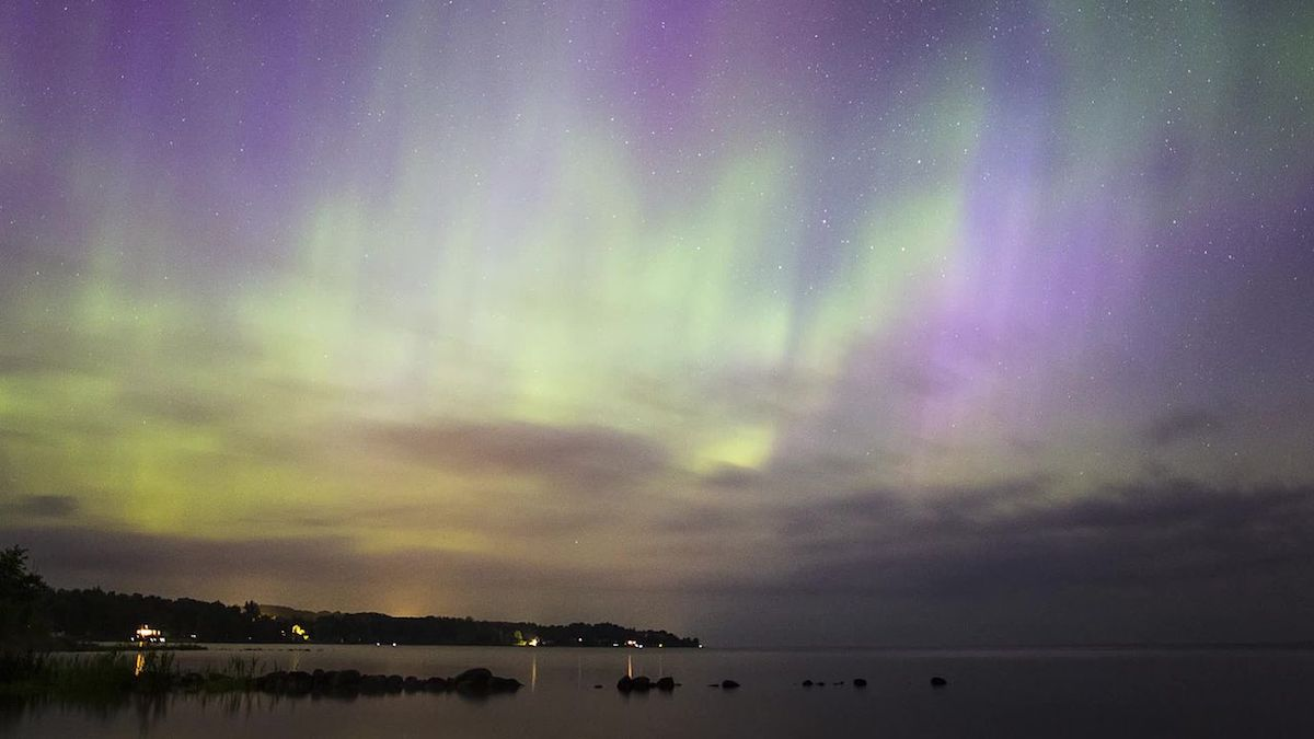 Northern lights, Balmy Beach, Ontario, Canada