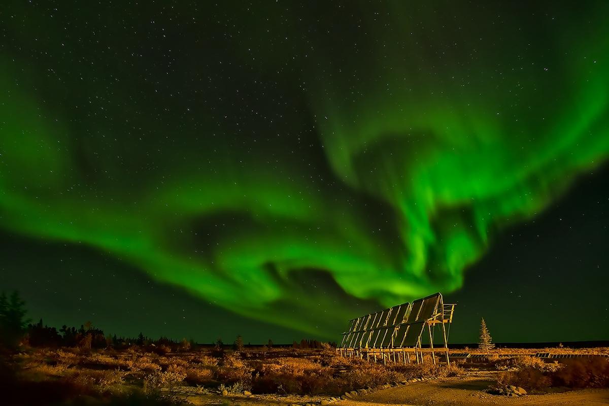 Aurora Borealis, Lodge Solar Panels, Ennadai Lake, Nunavut