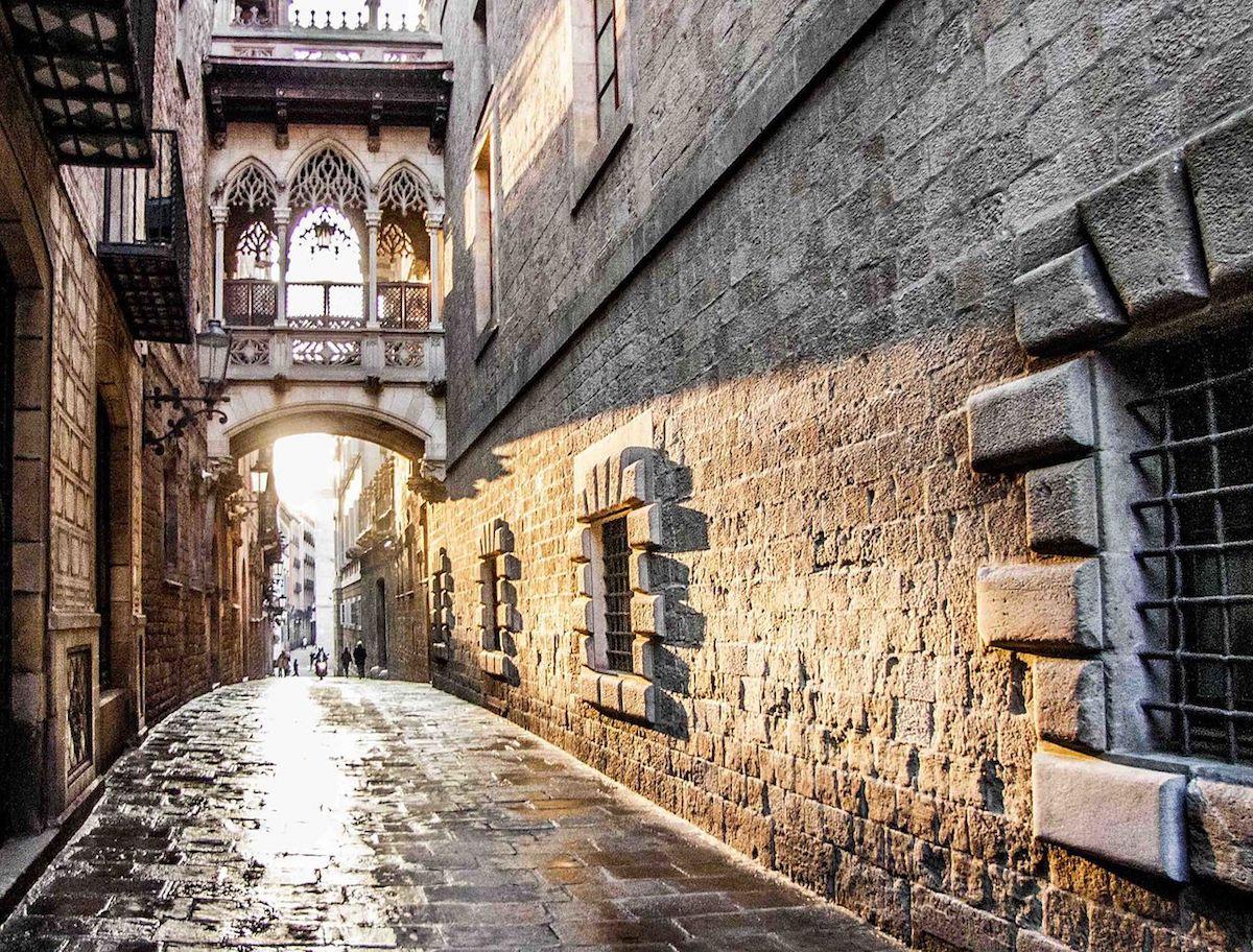 the unusually empty street of Barrio Gotico, Barcelona, Spain