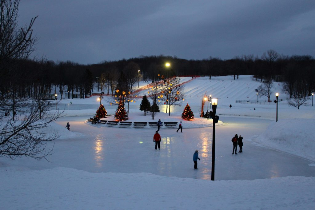 Ice Skating outdoors during winter