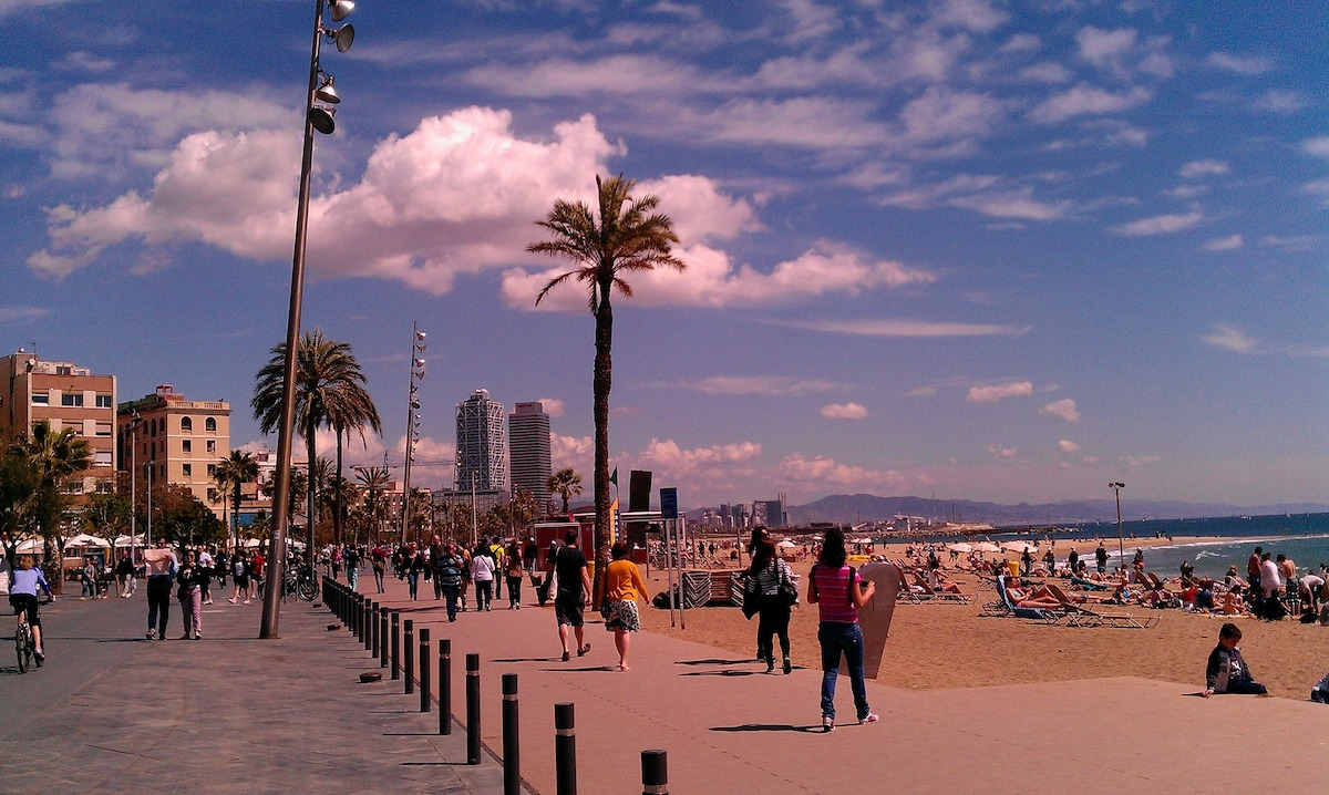 a busy day at the beach in Barceloneta