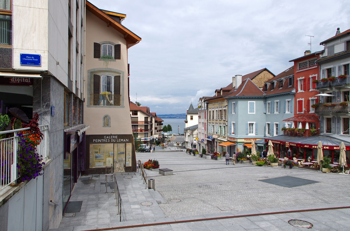 the beautiful quaint town of Evian-les-Bains