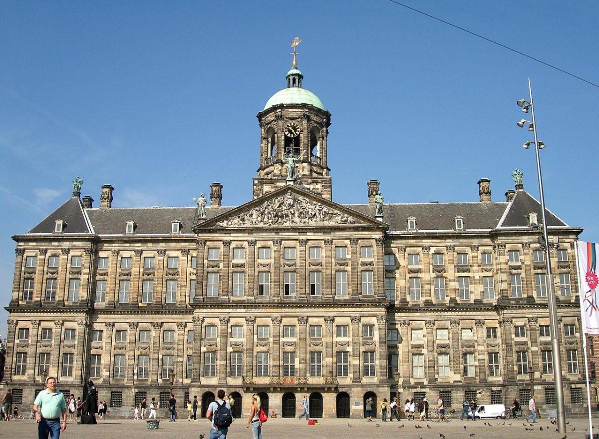 Impressive, Imposing image of the towering Royal Palace, Amsterdam