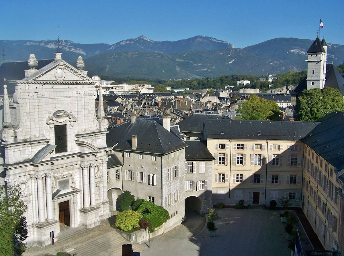 Aerial view of the historic town of Chambèry