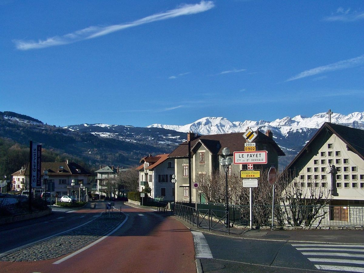 Local town of near the snow-capped Le Fayet, Saint-Gervais-les-Bains French Alps