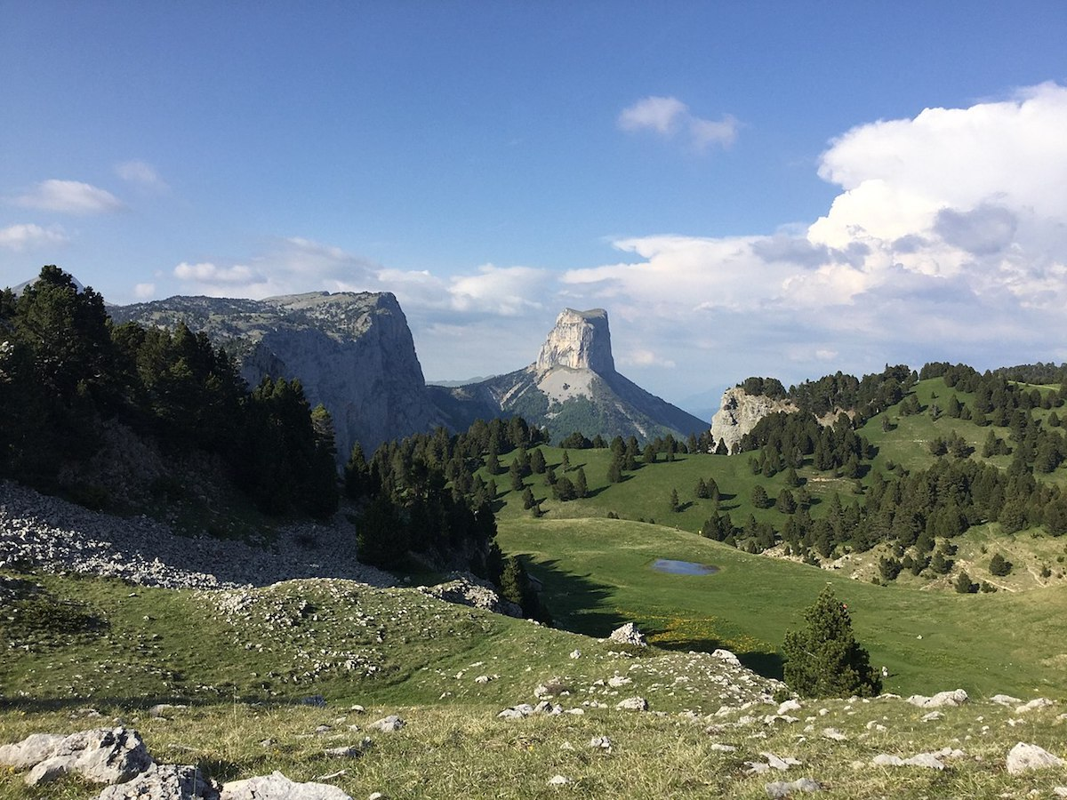 Panoramic view of Mont Aiguille on the Vercors plateaux during summer
