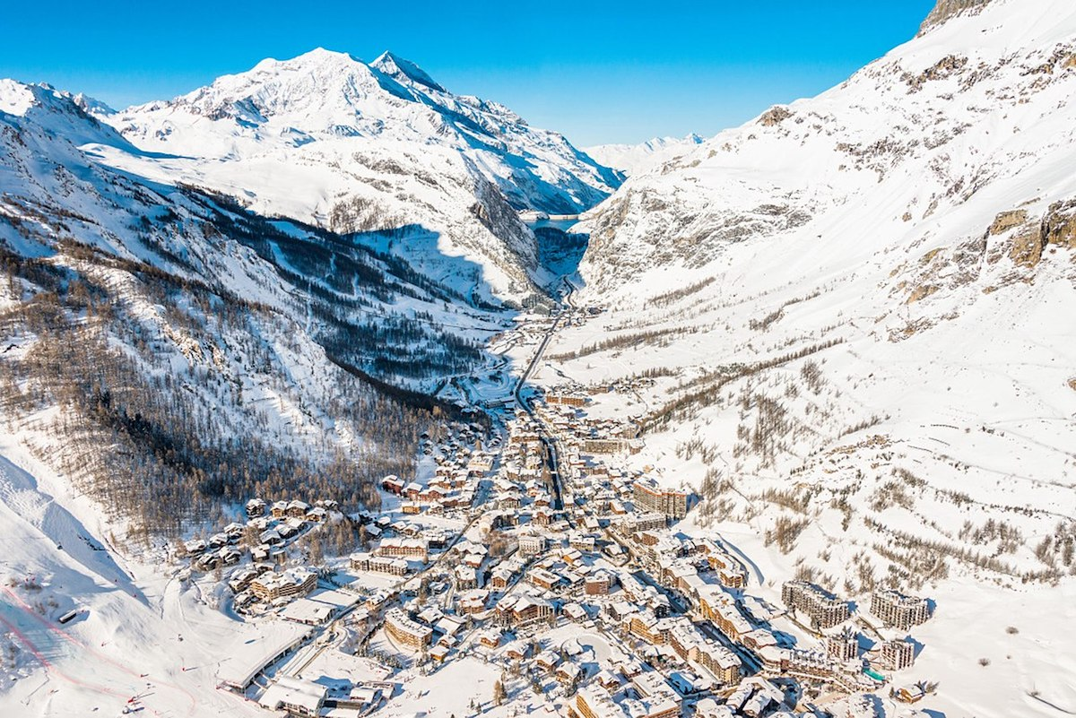 aerial view of the snowy Vald'Isere, French Alps