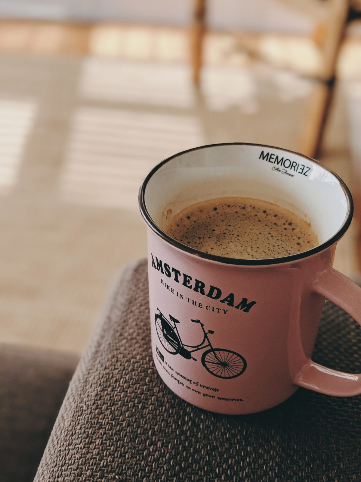 Close-up picture of well-brewed coffee in an Amsterdam cup