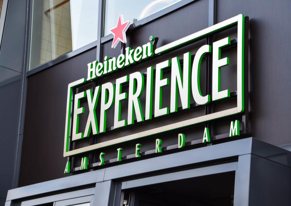 Close up shot of Amsterdam's Heineken Experience building logo